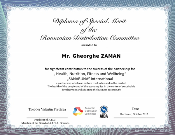 Gheorghe ZAMAN, Diploma of Special Merit
