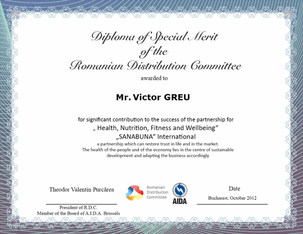 Victor GREU, Diploma of Special Merit