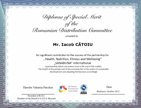 Iacob CĂTOIU, Diploma of Special Merit