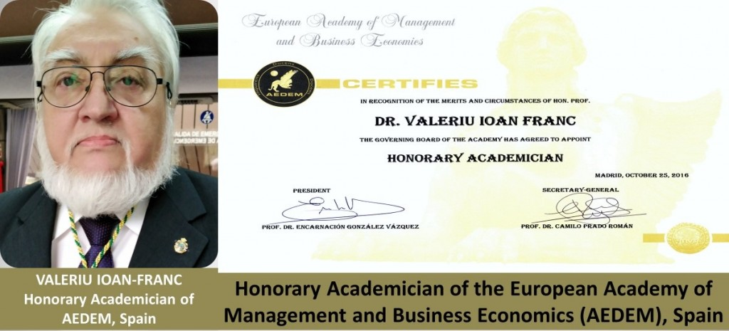 Valeriu IOAN-FRANC, Honorary Academician of the AEDEM, Spain