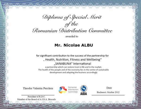 Nicolae ALBU, Diploma of Special Merit