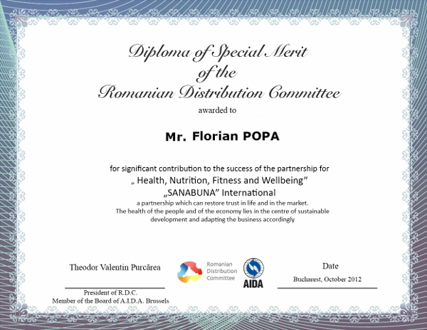 Florian POPA, Diploma of Special Merit