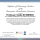 Diploma of Honorary Member of the Romanian Distribution Committee awarded to Professor Vasile Stanescu