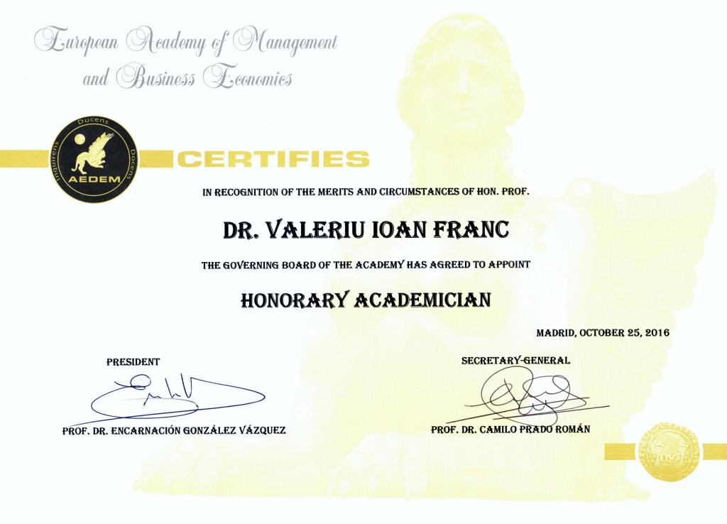 Diploma AEDEM 2016, Valeriu   Ioan-Franc