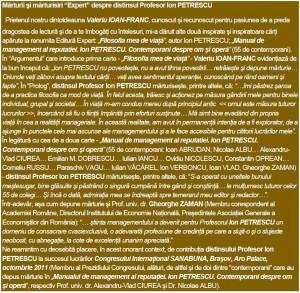 Mărturii şi mărturisiri Expert despre distinsul Profesor Ion PETRESCU